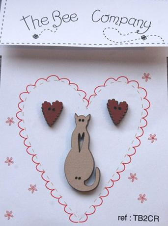 click here to view larger image of Hearts and Linen Cat Buttons (buttons)