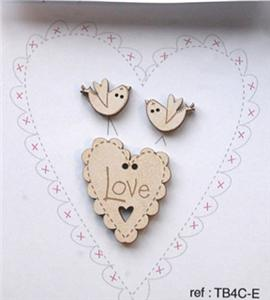 click here to view larger image of Love Heart and Birds Buttons - Cream (buttons)