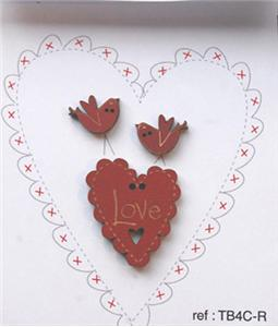 click here to view larger image of Love Heart and Birds Buttons - Red (buttons)