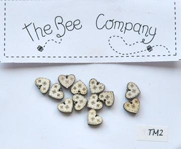 click here to view larger image of 12 Mini Cream Heart Buttons (buttons)