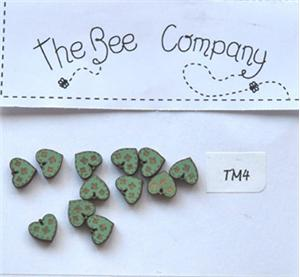 click here to view larger image of 12 Mini Green Heart Buttons (buttons)