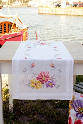 click here to view larger image of Colorful Flowers Table Runner (counted cross stitch kit)