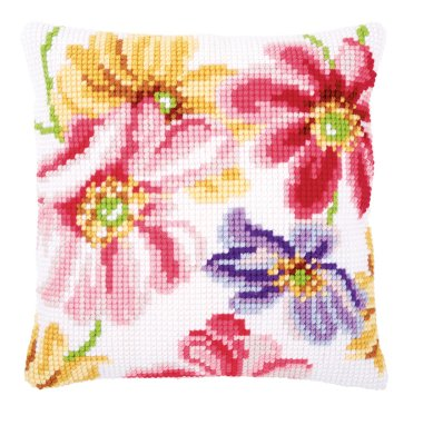 click here to view larger image of Colorful Flowers Cushion (needlepoint)