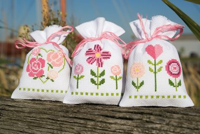 click here to view larger image of Fun Flower Bags (Set of 3) (counted cross stitch kit)