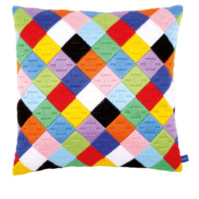 click here to view larger image of Colorful Diamonds Cushion (needlepoint)
