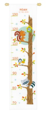 click here to view larger image of Animals In Tree Growth Chart (counted cross stitch kit)