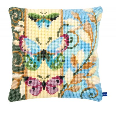 click here to view larger image of Deco Butterflies Cushion (needlepoint)
