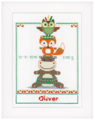 click here to view larger image of Animal Tower Birth Announcement (counted cross stitch kit)