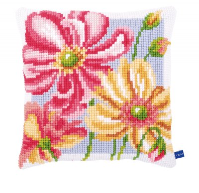 click here to view larger image of Colorful Flowers Cushion (counted canvas kit)