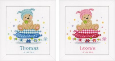 Birth Announcement - Bear and Pillow - click here for more details about counted cross stitch kit