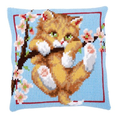 click here to view larger image of Hanging Cat Cushion (counted cross stitch kit)