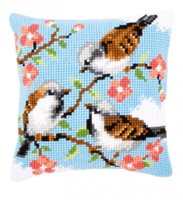 click here to view larger image of Birds Between Flowers Cushion (counted cross stitch kit)