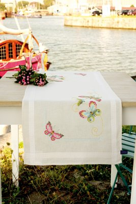 click here to view larger image of Butterflies Runner (counted cross stitch kit)