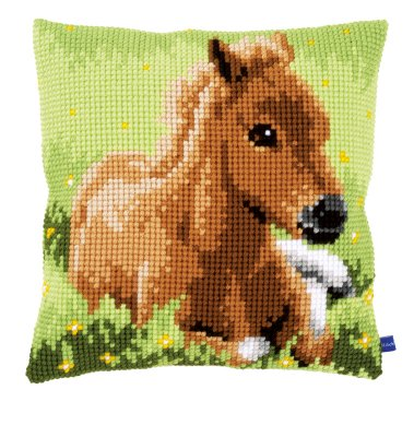 click here to view larger image of Brown Foal Cushion (counted cross stitch kit)