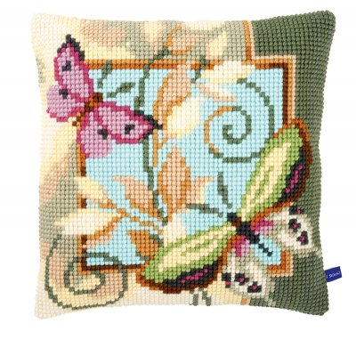 click here to view larger image of Deco Butterflies Cushion (counted cross stitch kit)