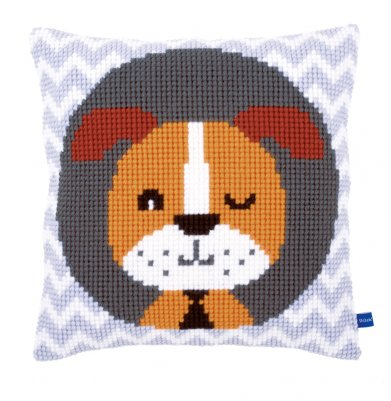 click here to view larger image of Winking Dog Cushion (counted cross stitch kit)