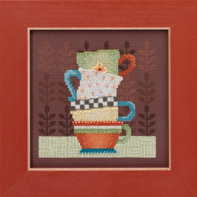 click here to view larger image of Coffee Cups - Good Coffee and Friends (counted cross stitch kit)
