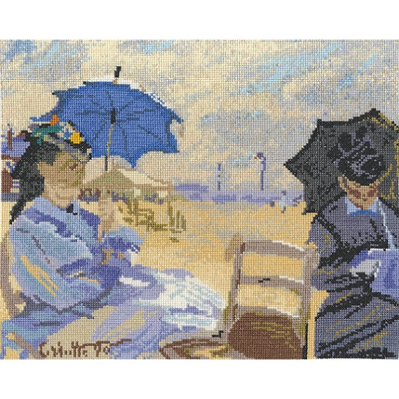 click here to view larger image of Claude Monet - The Beach At Trouville (counted cross stitch kit)