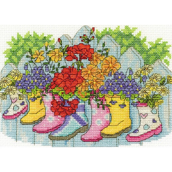 click here to view larger image of Blossoming Wellies (counted cross stitch kit)