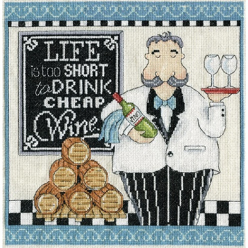 click here to view larger image of Cheap Wine (counted cross stitch kit)