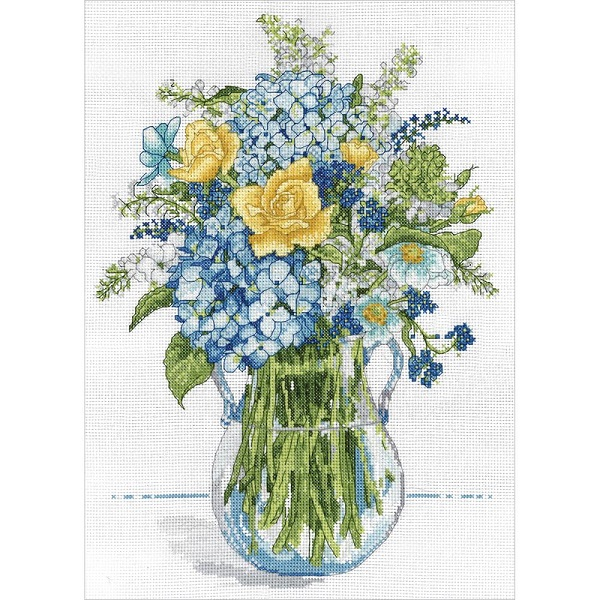 click here to view larger image of Blue and Yellow Floral (counted cross stitch kit)