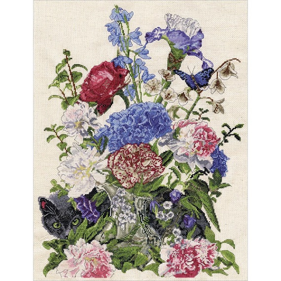 click here to view larger image of Bouquet With Cat (counted cross stitch kit)
