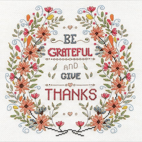 click here to view larger image of Be Grateful (counted cross stitch kit)