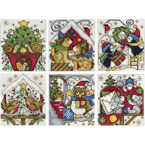 click here to view larger image of Home For Christmas Ornaments - Set of 6 (counted cross stitch kit)
