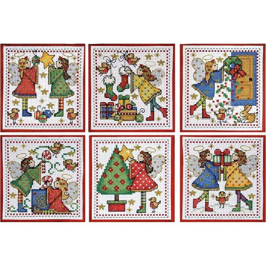 click here to view larger image of Decorating Angels Ornaments - Set of 6 (counted cross stitch kit)