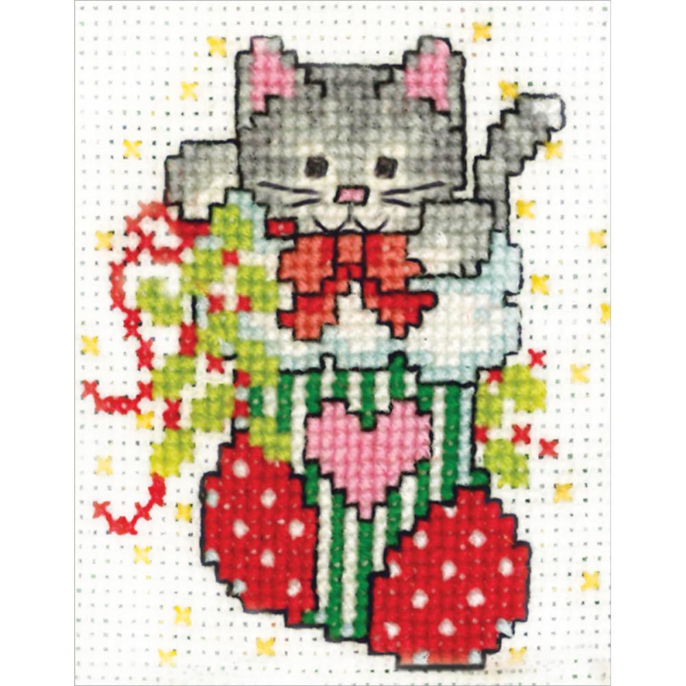 click here to view larger image of Stocking Cat (includes frame) (counted cross stitch kit)