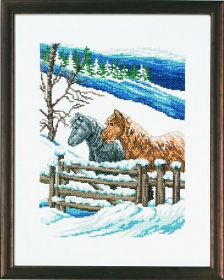 click here to view larger image of Winter And Horses (counted cross stitch kit)