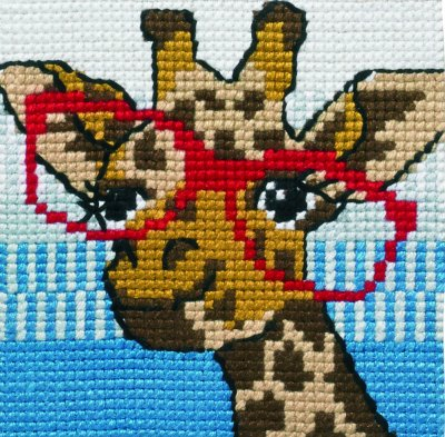 click here to view larger image of Giraffe With Glasses (needlepoint)
