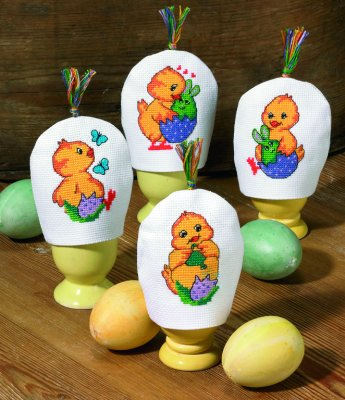 click here to view larger image of Active Chickens - Rounded Egg Warms - Set of 4 (counted cross stitch kit)