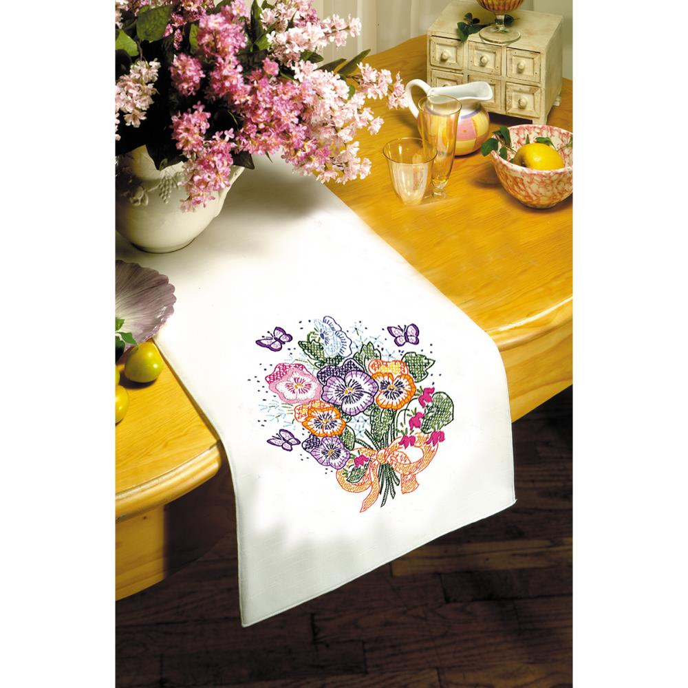click here to view larger image of Pansy Stamped White Table Runner - 15in x 44in (stamped cross stitch kit)