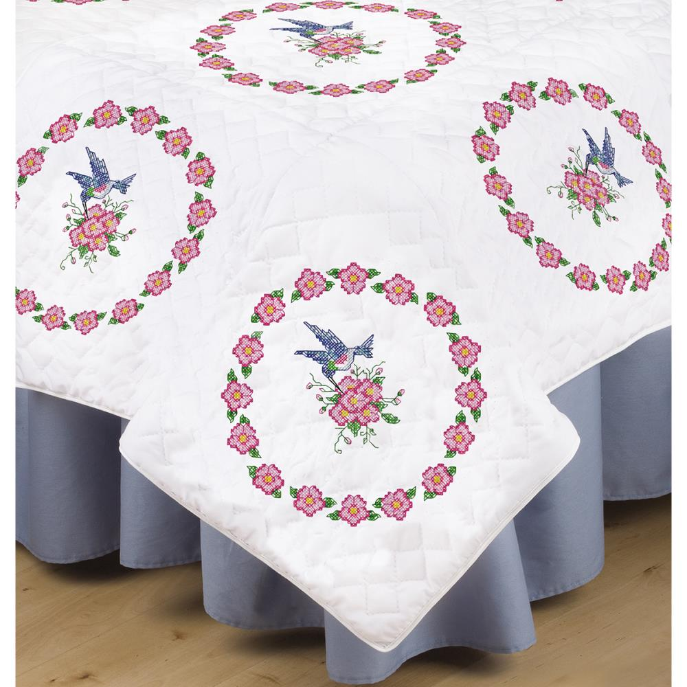 click here to view larger image of Hummingbird Stamped White Quilt Block - 18in x 18in (stamped cross stitch)