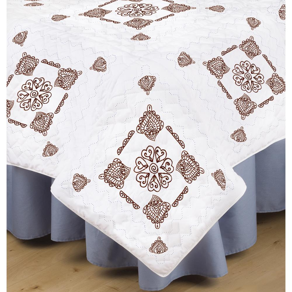 click here to view larger image of Henna Stamped White Quilt Blocks - 18in x 18in (stamped cross stitch)