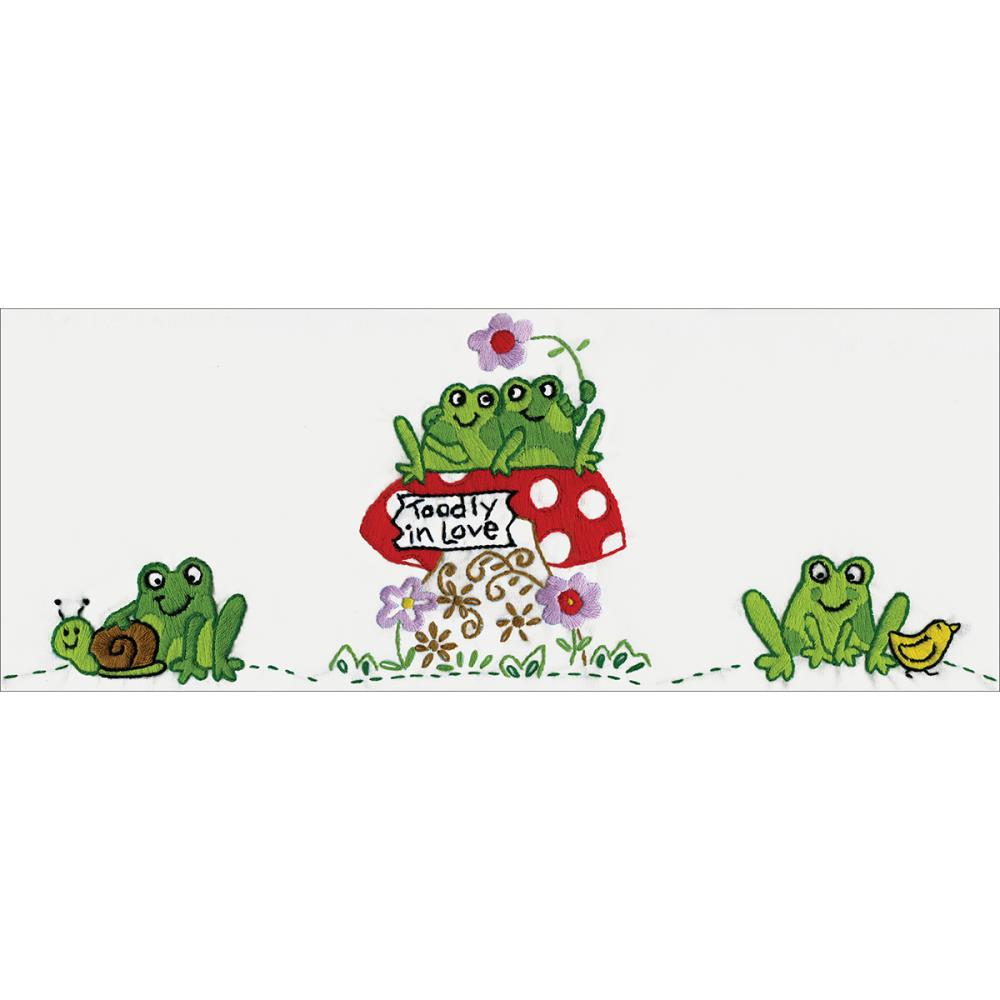 click here to view larger image of Frogs Stamped Pillowcase Pair - 20in x 30in (stamped cross stitch)