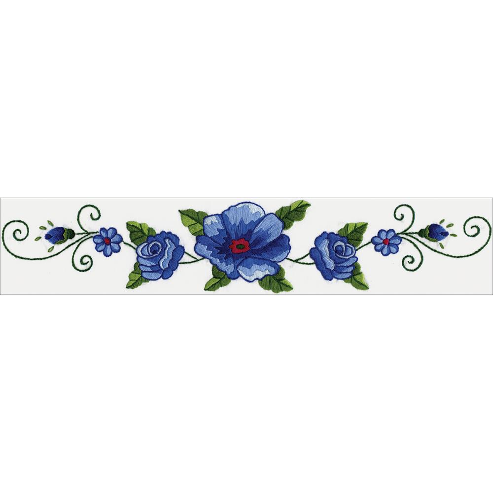 click here to view larger image of Blue Rose Stamped Pillowcase Pair - 20in x 30in (stamped cross stitch)