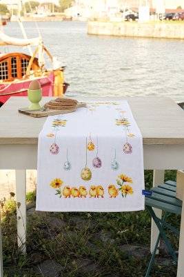 click here to view larger image of Chicks and Eggs Table Runner (stamped cross stitch kit)