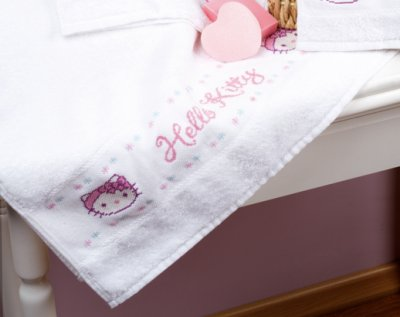 click here to view larger image of Hello Kitty Bath Towel (counted cross stitch kit)