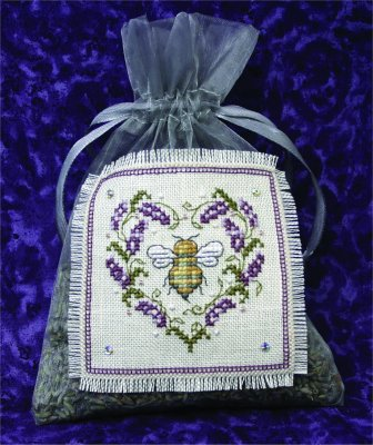 click here to view larger image of Lavender Bee Sachet (counted cross stitch kit)
