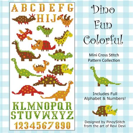 click here to view larger image of Dinosaur Fun Colorful Cross Stitch (chart)