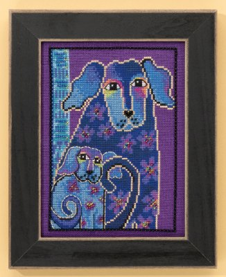 click here to view larger image of Blooming Tails - Dogs Collection (Linen) (counted cross stitch kit)
