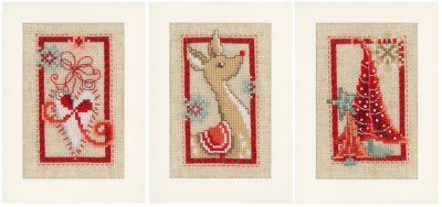 click here to view larger image of Christmas Cards - Christmas Symbols (Set of 3) (counted cross stitch kit)