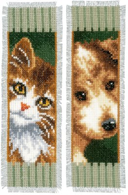 click here to view larger image of Cat and Dog Bookmark (Set of 2) (counted cross stitch kit)