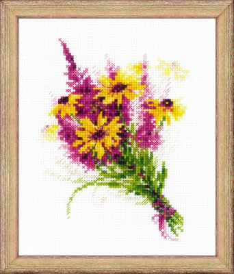 click here to view larger image of Bouquet with Coneflowers (counted cross stitch kit)