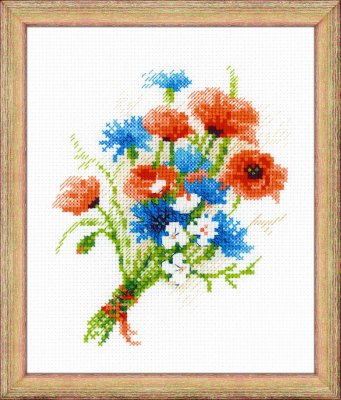 click here to view larger image of Bouquet With Cornflowers (counted cross stitch kit)