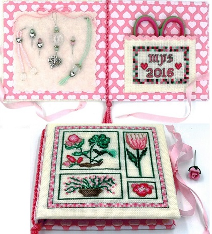 click here to view larger image of Pink Garden Needlebook (counted cross stitch kit)