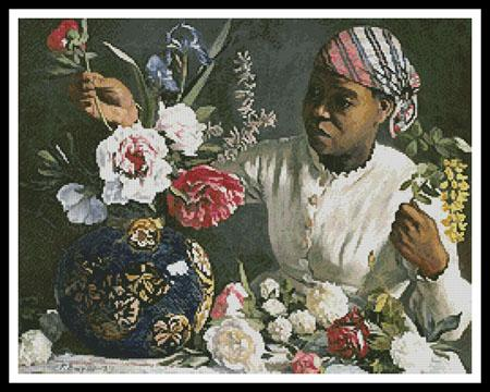 click here to view larger image of African Woman With Peonies 2 (chart)