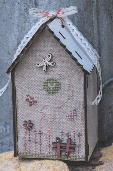 click here to view larger image of Butterfly Birdhouse Pattern With Buttons and Birdhouse (chart with charms/buttons)